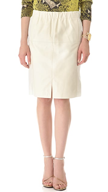 Halston Heritage Leather Combo Skirt