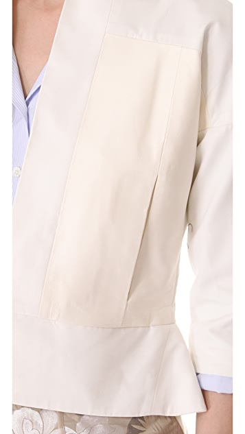 Halston Heritage Leather Trim Relaxed Jacket