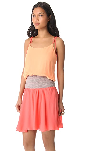 Halston Heritage Tie Shoulder Colorblock Dress