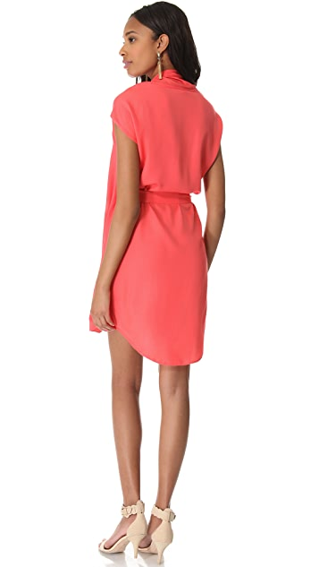 Halston Heritage Tie Waist Dress with Scarf