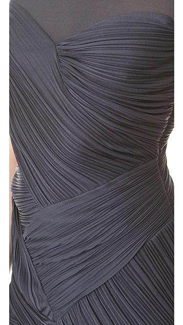 Halston Heritage Sheer Shoulder Pleat Gown