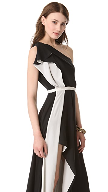 Halston Heritage Colorblock Ruffle Gown
