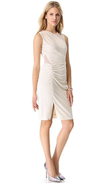 Halston Heritage Sheer Contrast Dress