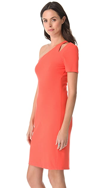 Halston Heritage One Sleeve Dress with Shoulder Cutout