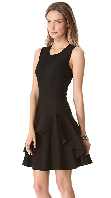 Halston Heritage Scoop Neck Ruffle Dress