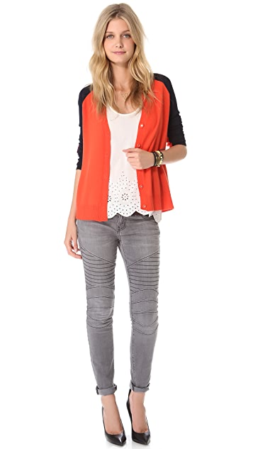 Halston Heritage Elbow Patch Cardigan