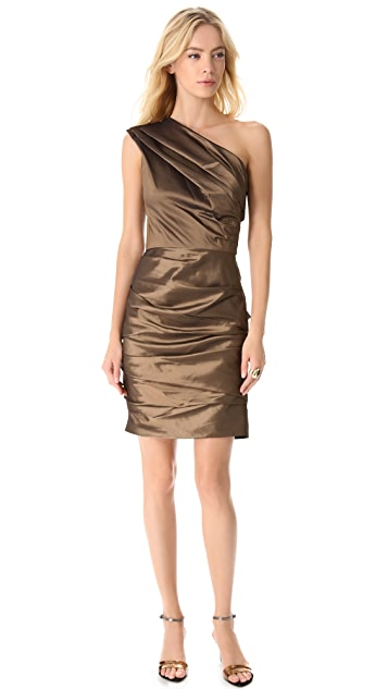 Halston Heritage One Shoulder Pleat Dress