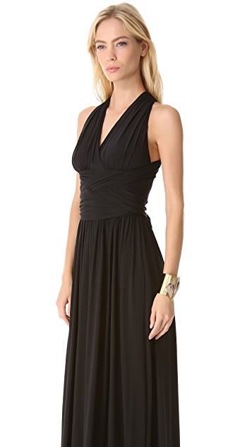 Halston Heritage Ruched V Neck Gown