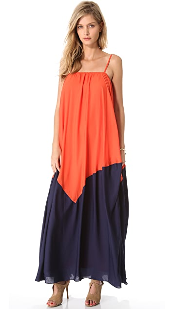 Halston Heritage Cami Strap Colorblock Gown