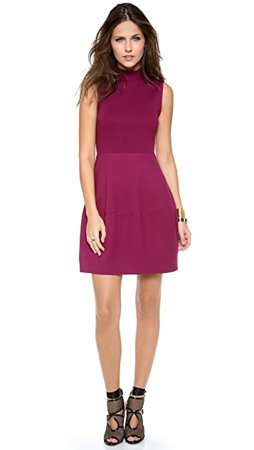 Halston Heritage Mock Neck Ribbed Dress