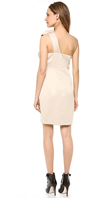 Halston Heritage One Shoulder Bow Dress