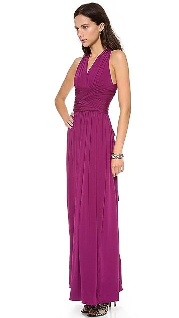 Halston Heritage V Neck Crisscross Gown