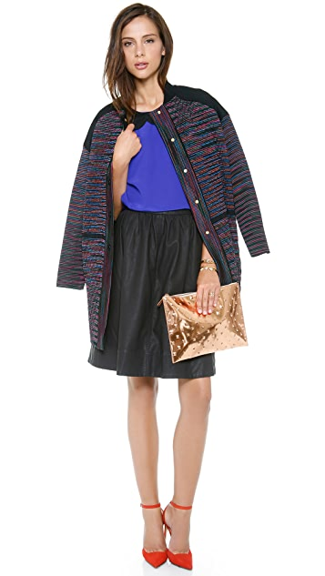 Halston Heritage Faux Leather Skirt