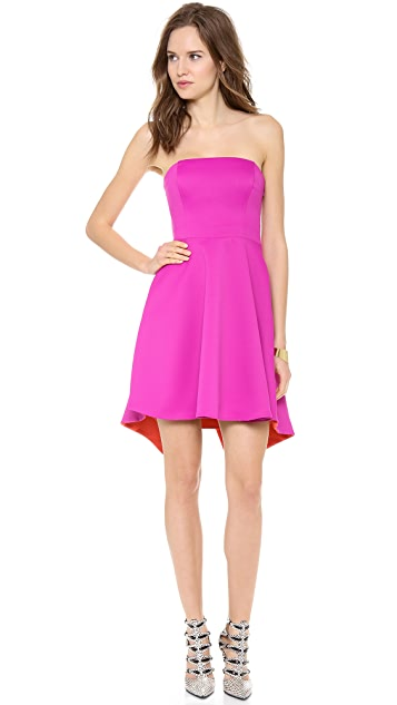 Halston Heritage Strapless Colorblock Dress