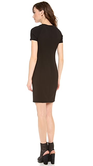 Halston Heritage Fitted Rib Zip Dress