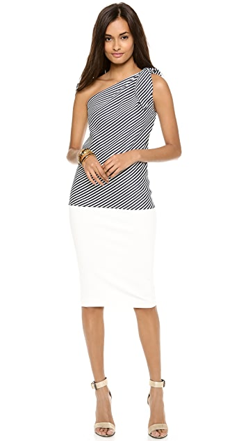 Halston Heritage One Shoulder Tie Top