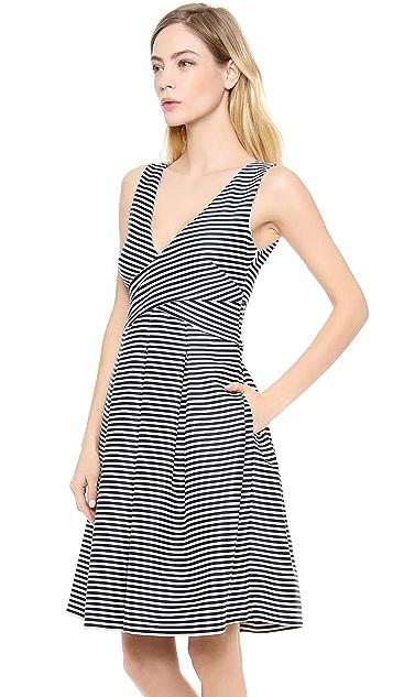 Halston Heritage Mini Stripe Bell Skirt Dress