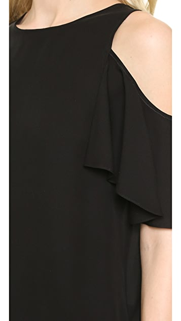 Halston Heritage Flutter Sleeve Cold Shoulder Top