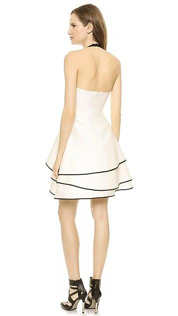 Halston Heritage Layered Skirt Halter Dress