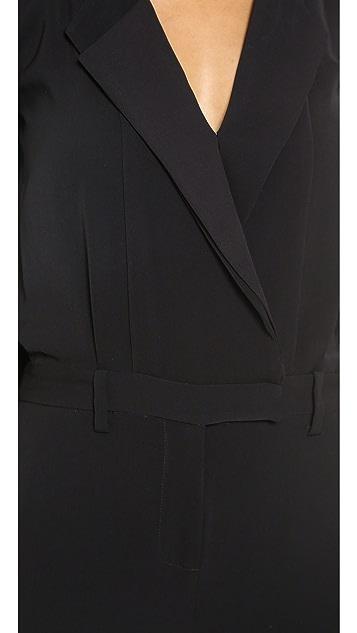 Halston Heritage Long Sleeve Lapel Jumpsuit