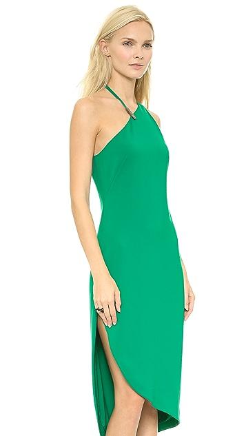 Halston Heritage Asymmetrical Neck Dress w Hardware