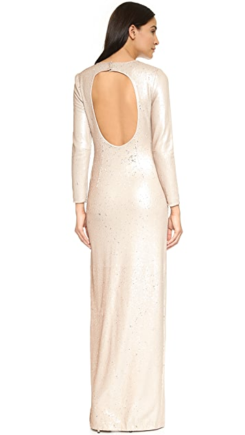 Halston Heritage Sequin Gown with High Slit
