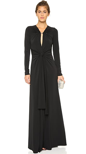 e6557f9bb74b5 Halston Heritage Long Sleeve Gown with Twist Front