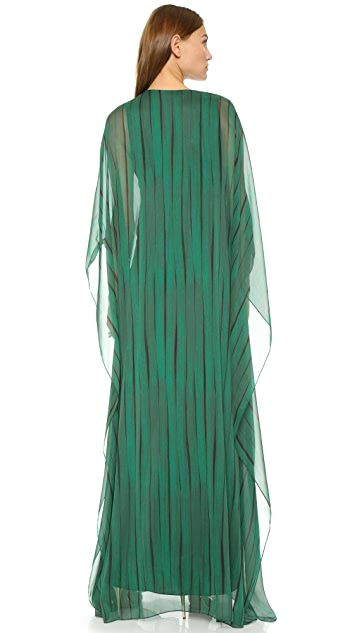 Halston Heritage Caftan Gown with Front Hardware