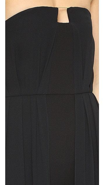 Halston Heritage Strapless Jumpsuit with Overlay