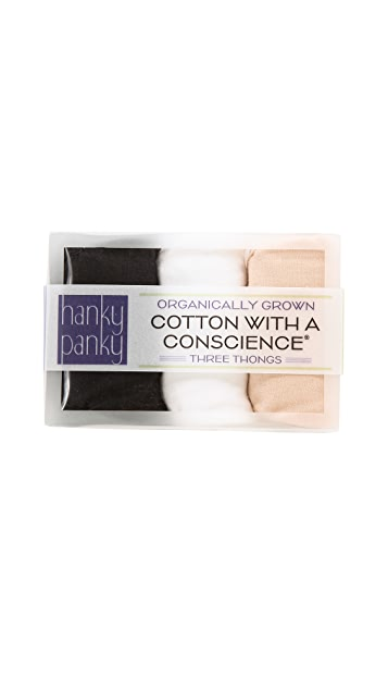 Hanky Panky Low Rise Cotton Thong 3 Pack