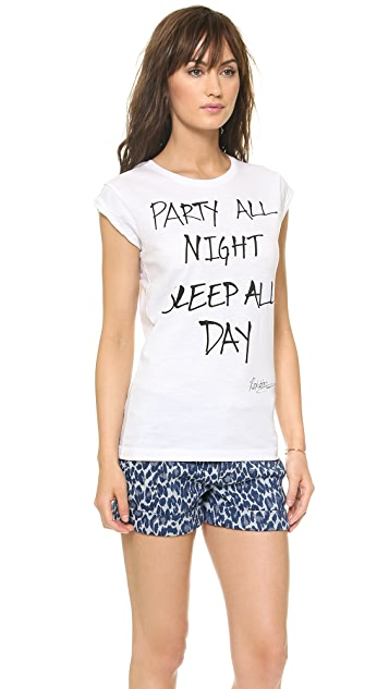 Happiness Party All Night, Sleep All Day Tee