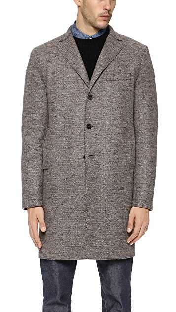 Harris Wharf London Tweed Overcoat with Tartan Interior