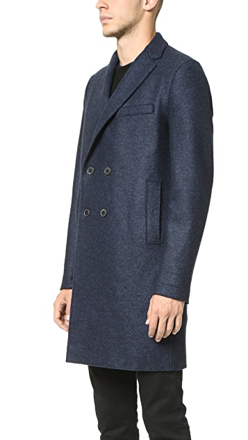 Harris Wharf London Double Breasted Boxy Pressed Wool Coat