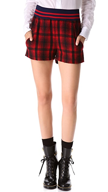 Harvey Faircloth High Waisted Plaid Shorts