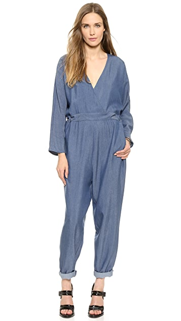 HATCH The Long Sleeve V Neck Jumpsuit