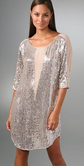 Haute Hippie Illusion Fringe Sequin Dress