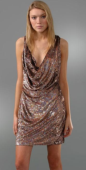 Haute Hippie Bias Sequin Cowl Dress