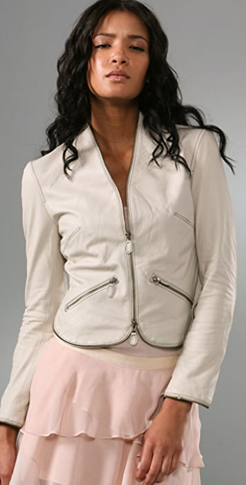 Haute Hippie Zip Leather Jacket