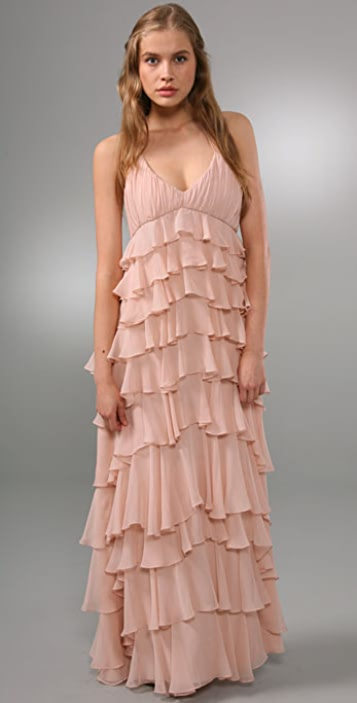 Haute Hippie Ruffle Long Dress