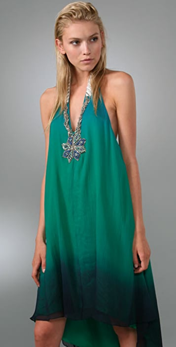 Haute Hippie Crinkle Halter Dress