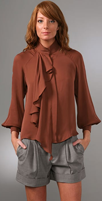 Haute Hippie Long Sleeve Ruffle Blouse