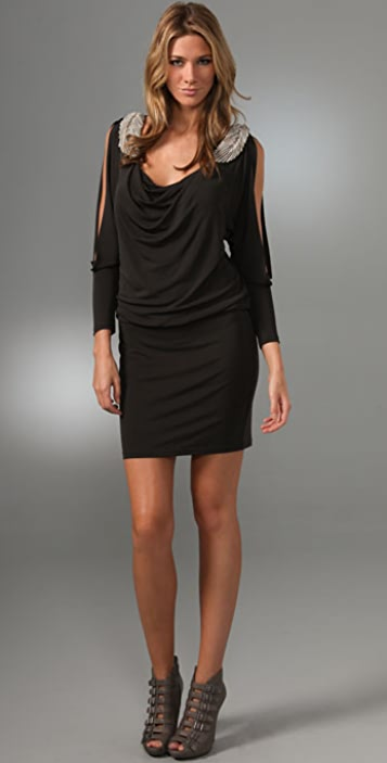 Haute Hippie Open Sleeve Dress With Feather Straps Shopbop