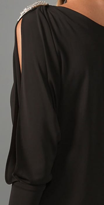 Haute Hippie Open Sleeve Dress with Feather Straps
