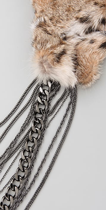 Haute Hippie Royal Spots Fur Collar With Chains