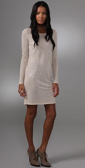 Haute Hippie Studded Long Sleeve Dress