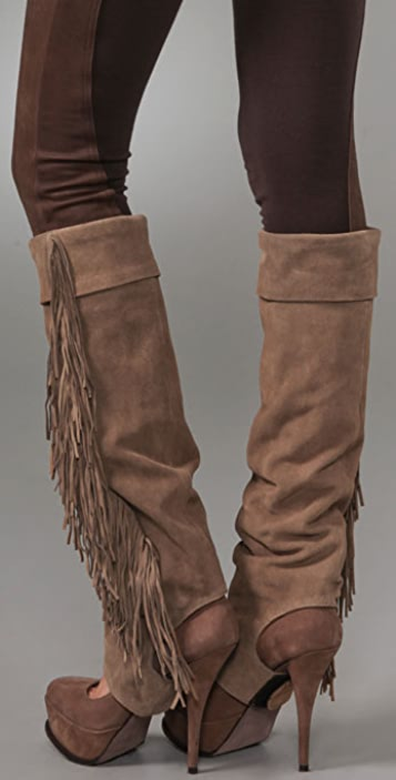 Haute Hippie Suede Spats With Fringe