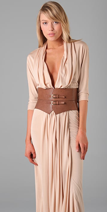 Haute Hippie Belted Column Gown