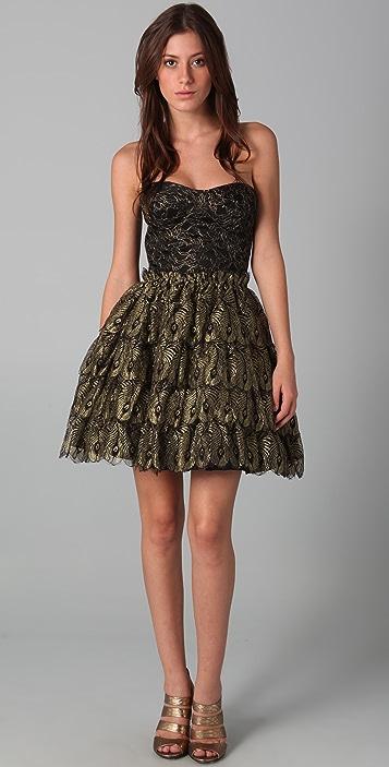 Haute Hippie Strapless Bustier Cocktail Dress