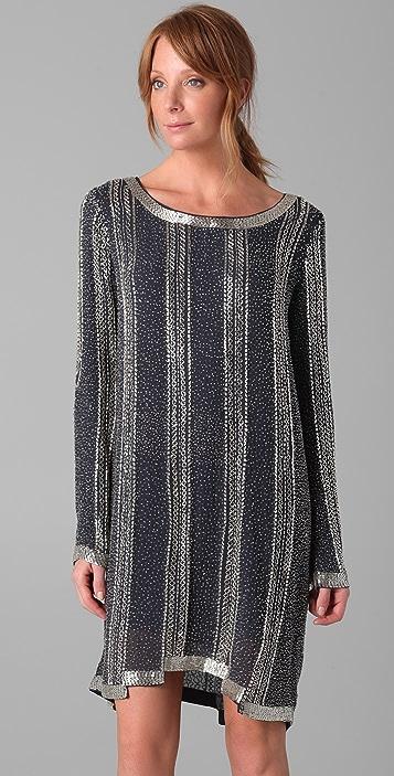 Haute Hippie Long Sleeve Beaded Dress