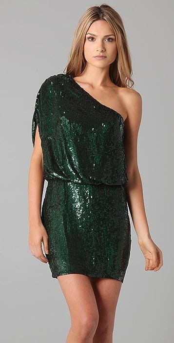 Haute Hippie One Shoulder Sequined Dress